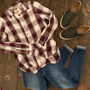 NWT Maroon and White Plaid Shirt